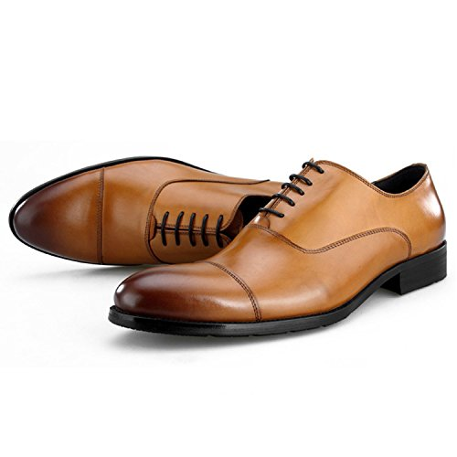 Odema Heren Klassieke Puntschoen Wingtip Premium Lederen Oxfords Smoking Lace Up Jurk Oxfords Schoenen Bruin