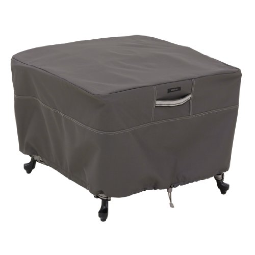 Fabric Outdoor Ottoman - Classic Accessories Ravenna Square Patio Ottoman/Table Cover - Premium Outdoor Furniture Cover with Durable and Water Resistant Fabric, Large (55-169-045101-EC)