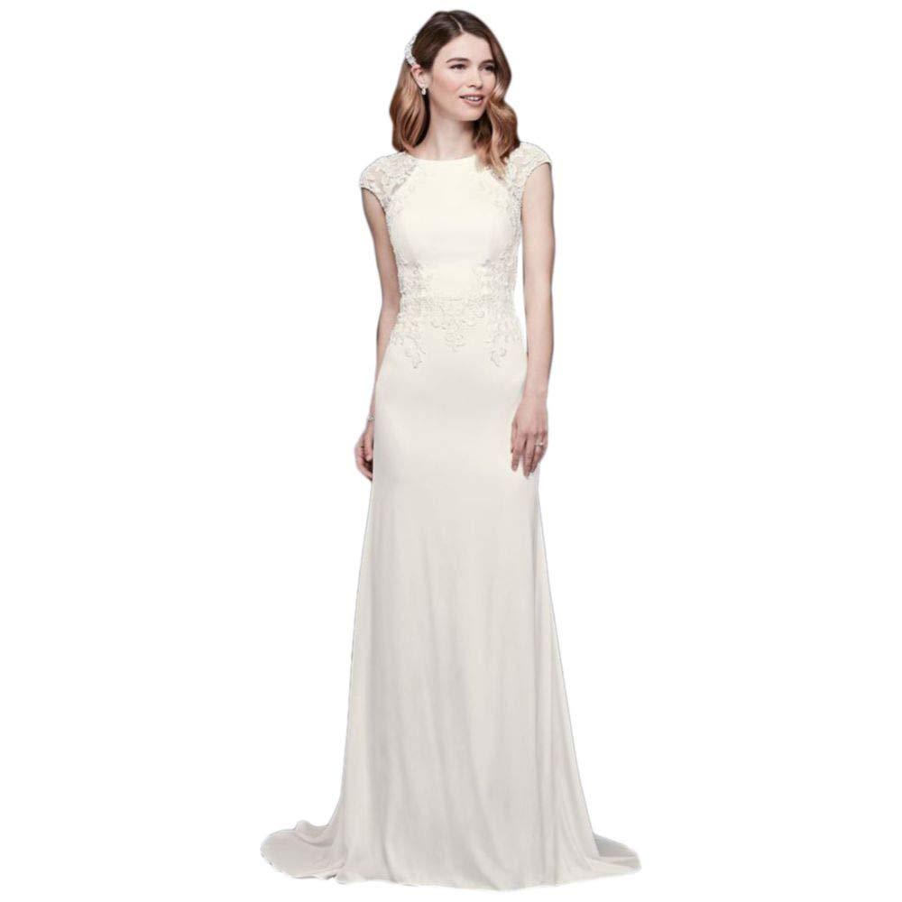 05e83f15 David's Bridal Cap Sleeve Crepe Sheath Wedding Dress Style WG3939 at Amazon  Women's Clothing store: