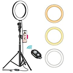 Dimmable Selfie Ring Light with stand 3 colors lighting mode: white, warm yellow, and warm white.  Each lighting mode has 10 level brightness to choose from, meet all your needs in different circumstances.  iPhone ring light is enough to supp...