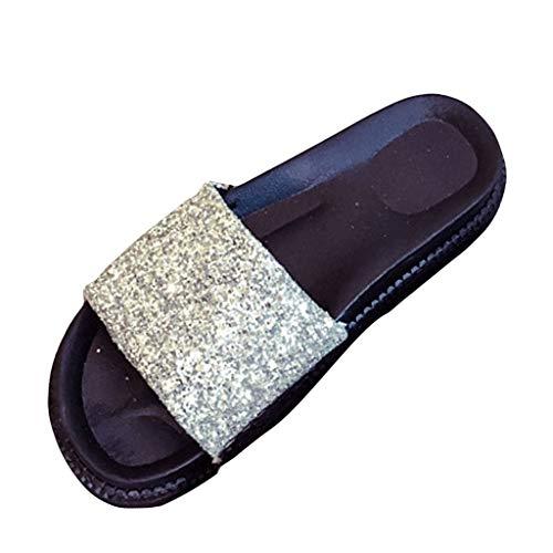 iYBUIA Women's Non-Slip Thick Bottom Soft Sandals Flip Flop Sequin Breathable Rubber Slides Solid Color Shoes Silver