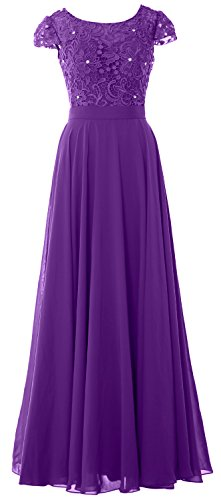 of Evening Violett Formal Gown Vintage Dress Sleeve Bride Women Cap Mother MACloth Lace 4zwZIq7