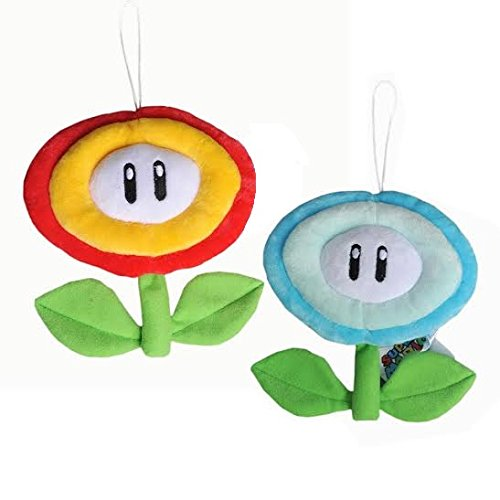 Ice Flower - Super Mario Bros Plush 6.6 Inch / 16cm Ice Flower Fire Flower 2pcs Doll Stuffed Animals Figure Soft Anime Collection Toy