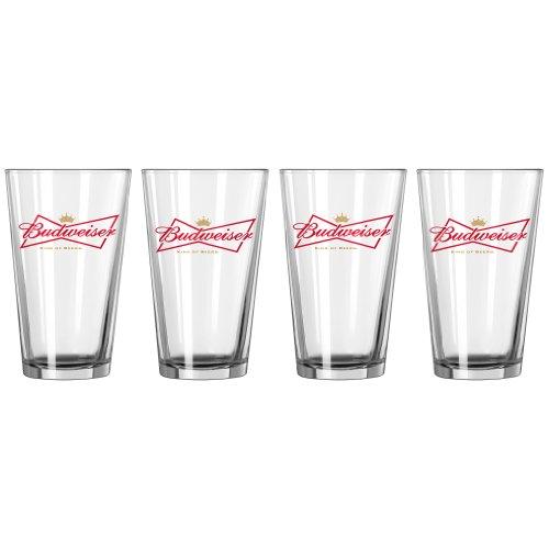 Boelter Brands Budweiser 4-Pack Bowtie Crown Glass Set, 16-Ounce