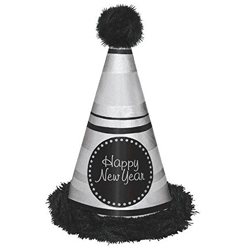 [Amscan Rocking New Year's Party Deluxe Striped Marabou Cone Hat Accessory (Pack of 1), Multicolor,] (New Years Costumes)