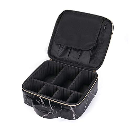 84e7749aa69b HOYOFO Travel Makeup Train Case with Adjustable Dividers Marble Makeup  Organizer Bag Portable Cosmetic Storage Cases with Brush Holders, Black