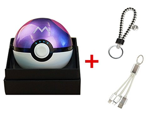 Pokemon Go Master Ball 12000mAh Power Bank USB Dual Battery Poke Ball Travel Portable Charger With LED Light , Keychain and 2 in 1 Multiple USB Charging Cable for IOS and Android Devices