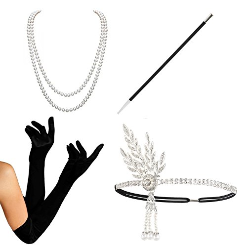 1920s Accessories set Flapper Costume-HAMIST(2017 New Design) For Women (S4-HASliver) (20s Costume Women)