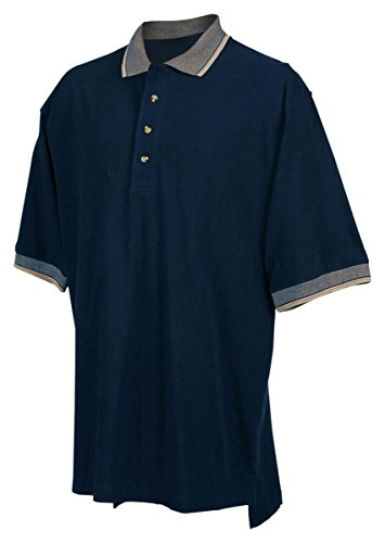 Tri-mountain Mens cotton pique golf shirt with jacquard trim. - NAVY / KHAKI - 2XLT