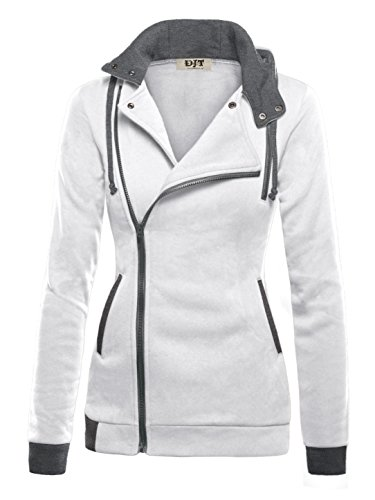 DJT Womens Oblique Zipper Slim Fit Hoodie Jacket XX-Large White -
