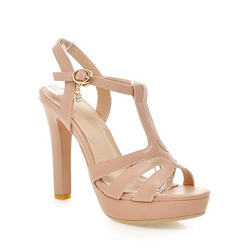 AgooLar Women's Open Toe High Heels Buckle Solid Sandals Pink