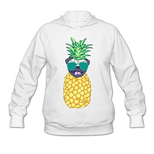 MingYue Women's Pineapple Pug Soft Long Sleeve Pullover Hooded Sweatshirt White Size XXL