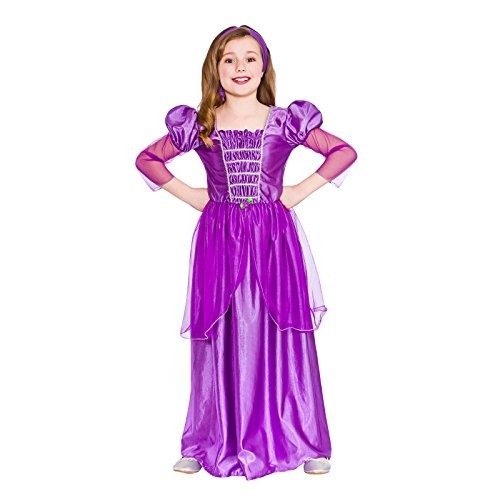 Girls Sweet Princess Fancy Dress Up Party Costume Halloween Child Outfit Purple (Disney Princess Halloween Costumes Uk)