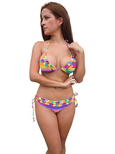 ingear 2Pieces Bikini Swimsuit Rainbow S