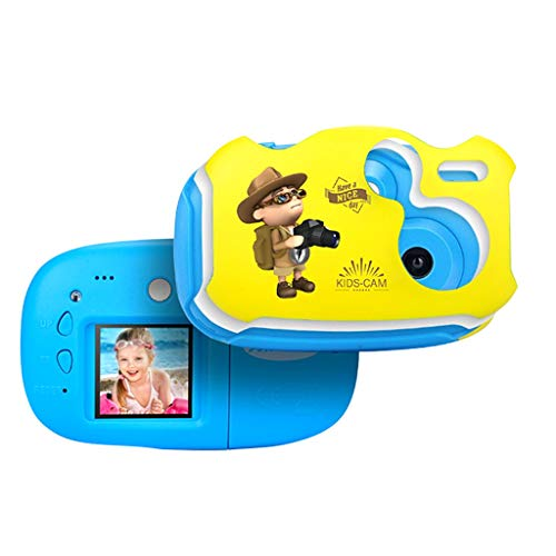 Fine Kids Digital Camera,1.7 Inch Digital Video Camera Creative DIY Camera for Kids with Soft Silicone HD Sport Learn Mini Camera Camcorder for Boys Girls Gifts (Blue)