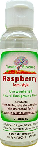 RASPBERRY (Jam-style) by Flavor Essence (Unsweetened, Natural Background Flavoring) 2-Oz. In Beverages: coffee/tea, shakes/smoothies, bar drinks. In Foods: baking, doughs/batters, frostings, yogurt