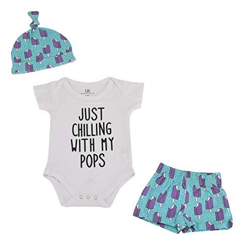 Unique Baby Boys Popsicle Print Onesie Shorts Cap 3 Piece Layette Set (9m) Blue]()