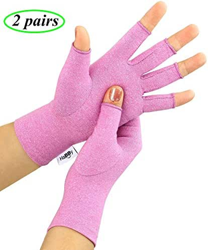 2 Pairs Compression Arthritis Gloves, Fingerless Gloves for Women & Men,Hand Glove for Rheumatoid & Osteoarthritis - Joint Pain and Carpel Tunnel Relief,Computer Typing (Purple, Medium)