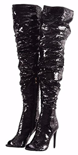 CAMSSOO Women's Fashion Peep Toe Sparkle Sequins Thigh High Over Knee Pupms Heel Christmas Party Dance Boots Black