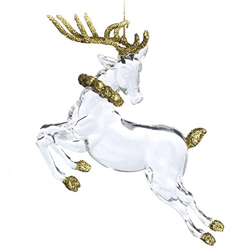 Group of 12 Glizy Gold Glitter and Clear Acrylic Reindeer Christmas Ornaments for Favors, Tree Trim, and Decorating (Reindeer Decorations Glitter)