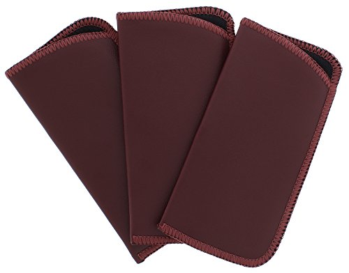 3 Pack Soft Faux Leather Slip In Eyeglass Case, Fits Medium to Large Frames, Burgundy