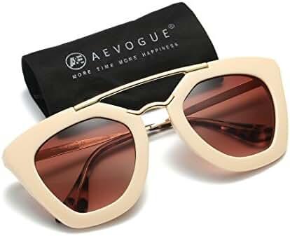 AEVOGUE Womens Sunglasses Double Bridge Cat Eye Gradient Lens Metal Temple UV400