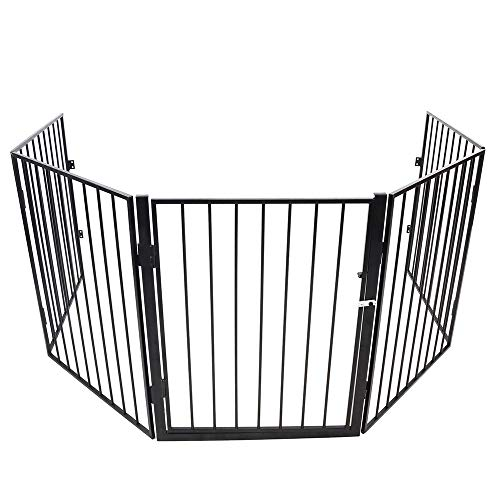 FreeTrade Fireplace Safety Fence Baby Gate/Fence BBQ Pet Metal Fire Gate Baby Play Yard with 5 Panels Close Door Safety Gate for Pet/Toddler/Dog/Cat