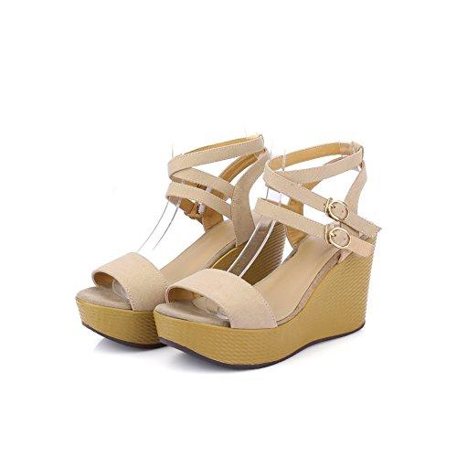 AmoonyFashion Womens Open Toe Buckle Microfiber Solid High Heels Sandals Apricot 2gFdj