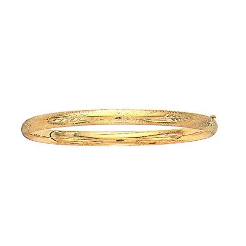 - 10k Yellow Gold High Polished Dome Florentine Bangle Bracelet, 7