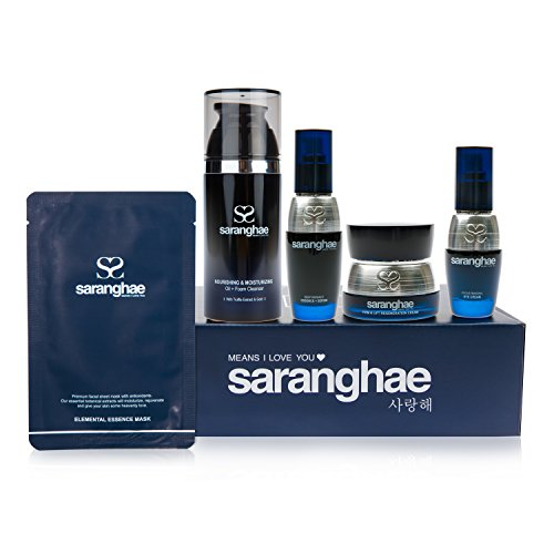 (Saranghae Complete 5 Step Bundle: Nourishing and Moisturizing Cleanser, Deep Radiance Essence + Serum, Firm and Lift Regeneration Cream, Focus Renewal Eye Cream and 6 Elemental Essence Face Masks!)