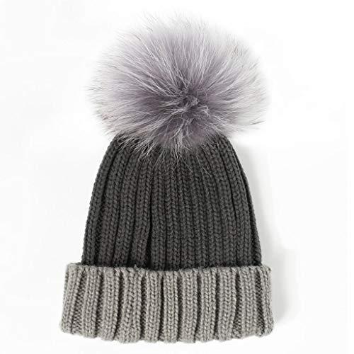 Zdd Invierno Coreana Lana Para Otoño La Mujer Moda 52 color Cálida Sombrero E 2 56cm Punto Tamaño Black Gray De 7qtnXxrw78