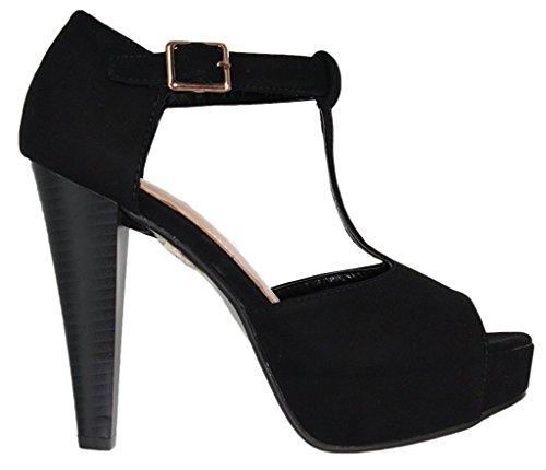 T buckle chunky back nubuck Top Suede 1 heel peep Women's strap platform Moda Black Table closed toe pumps 10174