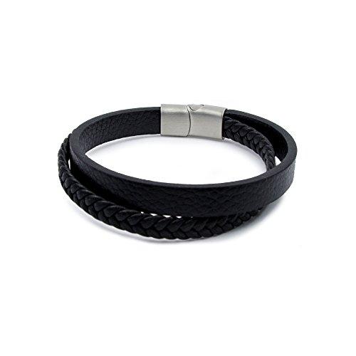 d80c512ad364 Willy s Manufaktur Hombre Pulsera Elegante Acero Inoxidable Real de piel  trenzado negro con cierre magnético Caliente