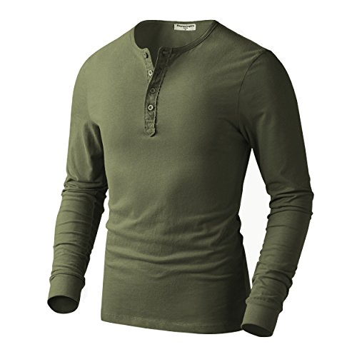 Derminpro Men's Premium Cotton Henley Long Sleeve T-Shirts Army Green ()