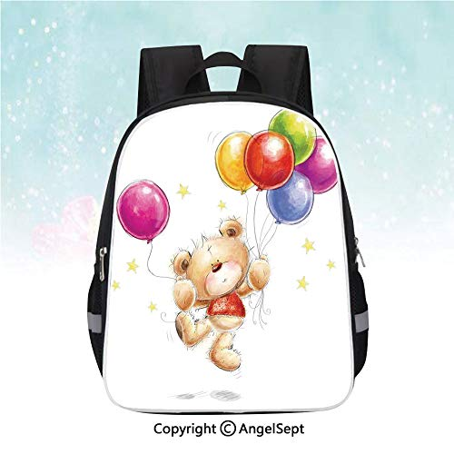 Schoolbag for Kids,Cute Teddy Bear with Colorful Balloons and Stars Cheerful Love Friends Animal Cartoon Print Decorative,13
