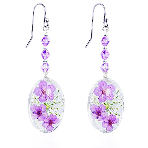CewanCe Purple Cherry blossoms Pressed Flower Stainless Steel Drop Earrings With Swarovski Elements crystals (Ear14- Purple) ()