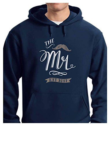 Tstars TeeStars - The Mr. EST. 2017 Wedding Gift For Couples - Newlywed Hoodie Medium Blue by Tstars