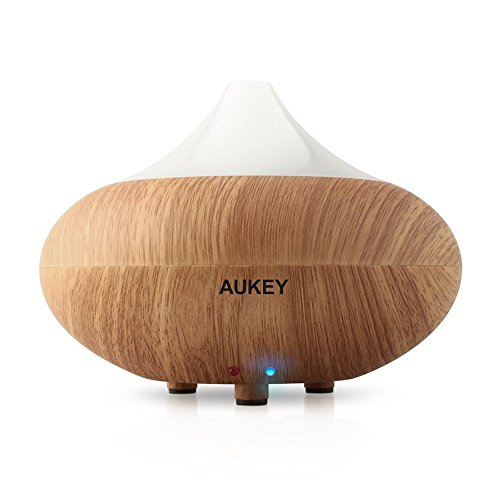 Aukey Electronic Aromatherapy Essential Oil Diffuser Ultrasonic Cool Mist Aroma Humidifier With Color Changing Lights and Waterless Auto Shut-off Function for Office, Yogo, Spa, Home, Bedroom (BE-A1, Light Brown)