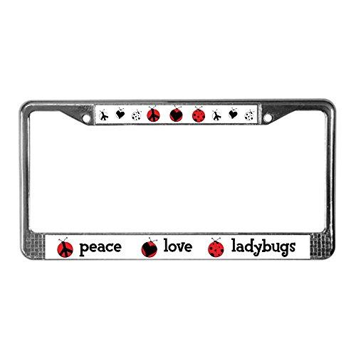 CafePress Peace, Love, Ladybugs Chrome License Plate Frame, License Tag ()