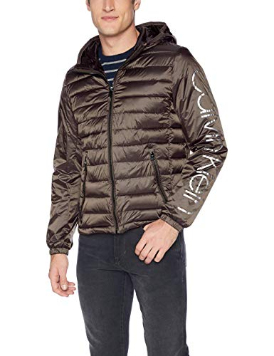 Calvin Klein Men's Calvin Klein Logo Wind Breaker Jacket Outerwear, -brown/grey, - Klein Outerwear Calvin