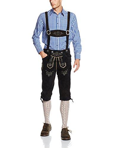 Gaudi-Leathers Herren Trachten Lederhose Kniebund mit Träger in Schwarz (Schwarz 050), W37 (Herstellergröße: 50)