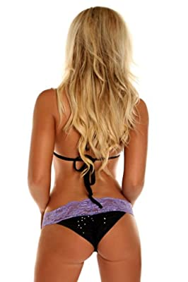 Daisy Beachwear Women's Black Sequin Pucker Back Bikini with Lavender Lace