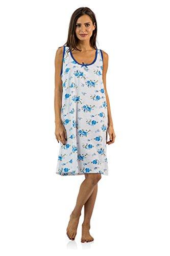 Casual Nights Women's Cotton Sleeveless Nightgown Chemise - Blue - (Cotton Sleeveless Nightgown)