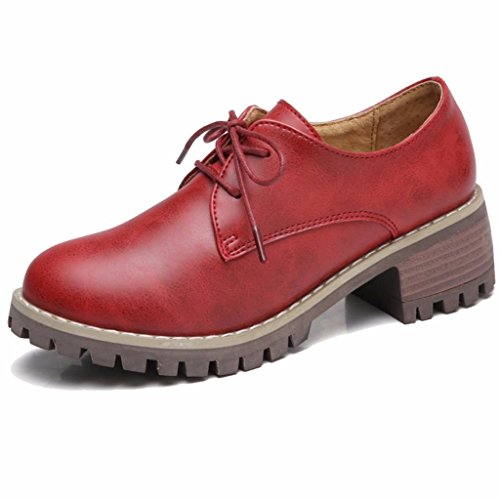 Chaussures Derbies Moonwalker Talon Lacets Femme Rouge Bloc Brogues gwqq6z5