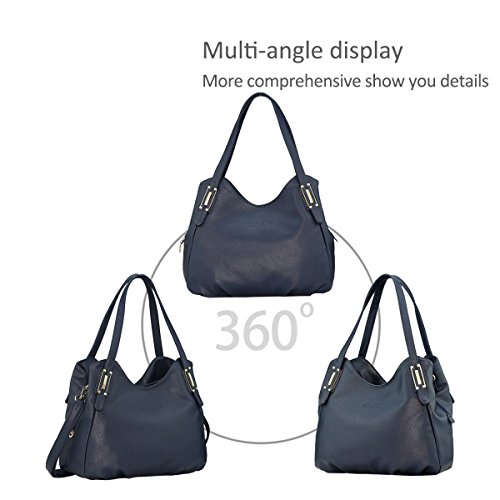 Satchel Purse Shoulder Tote Crossbody Black PU Dark Bag Handbags amp;Doris Blue Leather Bag Hobo Women Nicole wvBq1A1z