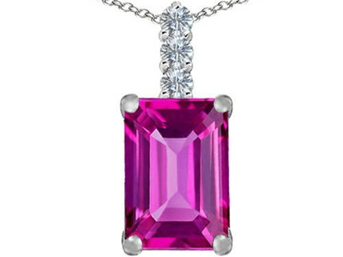 Star K Large 14x10mm Emerald Cut Created Pink Sapphire Pendant Necklace Sterling Silver