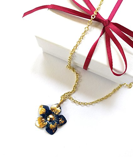 Hand-Painted Gold Leaf Flower Pendant Necklace 20 (Painted Flower Necklace)