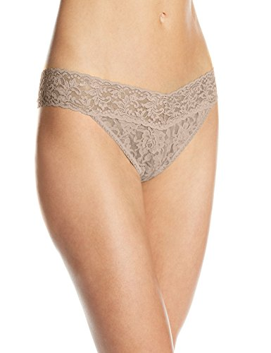 Hanky Panky Women's Signature Lace Original Rise Thong Panty, Taupe, One (Signature Womens Thongs)