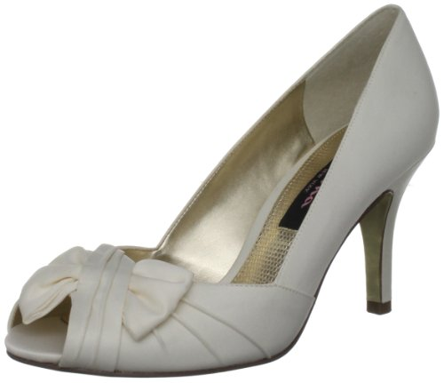 Nina Women's Forbes Satin Peep-Toe Pump,Ivory Luster,6.5 M US ()