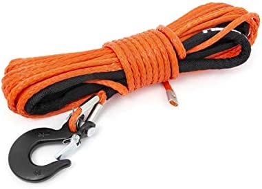 7,000 LB Rating Rough Country Orange Synthetic UTV//ATV Winch Rope Clevis Hook RS143 Protective Sleeve 50 FT